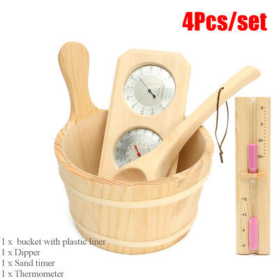 4Pcs Sauna Accessory Kit Pine Wood Bucket Dippers 15min Sand Timer Thermometer