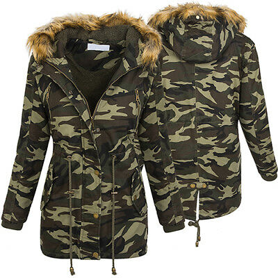 damen military jacke winterjacke damen parka camouflage. Black Bedroom Furniture Sets. Home Design Ideas
