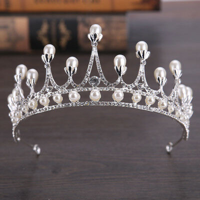 7cm High Pearl Clear Crystal Large Wedding Bridal Party Pageant Prom Tiara Crown