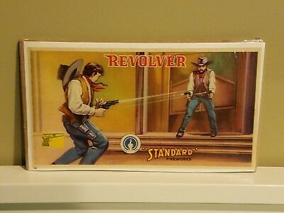 Vintage Fireworks Label Revolver Brand Advertising Original Excellent Condition