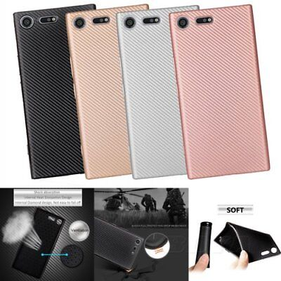 For Sony luxury soft TPU phone case protective skin carbon fiber pattern Rubber