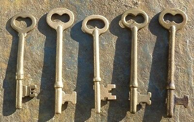 Five Vintage Brass Mortise Lock Skeleton Keys   Antique & Vintage  Door Keys