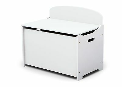 White Deluxe Wooden Toy Box with Back Children's Storage Box Playroom Furniture