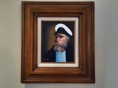 Vintage Sea Captain Oil Painting, framed and signed David Pelbam
