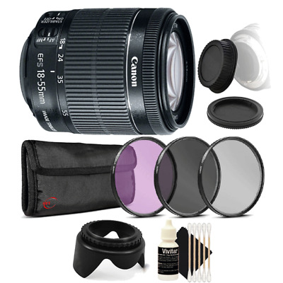 Canon EF-S 18-55mm IS STM Lens with Accessory Bundle For Canon T6 , T6i and T7i