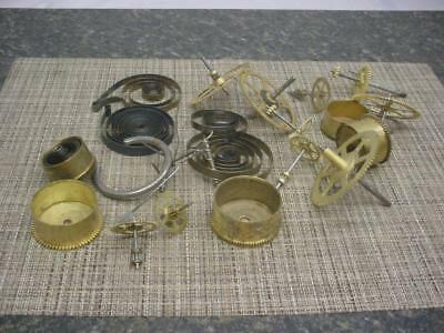 Large Lot Clockmaker New Haven Clock Brass Movement Parts Gears SteamPunk E592