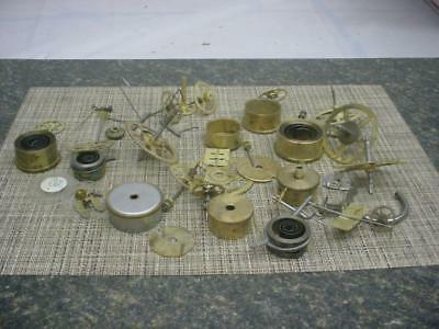 Large Lot Clockmaker New Haven Clock Brass Movement Parts Gears SteamPunk E561
