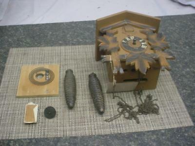 German-Made Cuckoo Coo Coo Parts Clock w/ Hubert Herr Triberg Movement F030