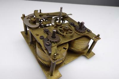 """Vintage """"Hall""""  Brass Clock Movement """"Foreign 52132 6"""" Parts   E634b"""