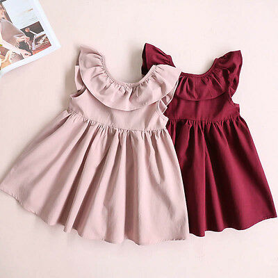 IT- Toddler Kids Baby Girls Clothes Fly Sleeve Ruffled Bowknot Backless Party Dr