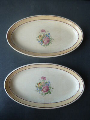 Lot of 2 Petits Plates Ceramic Yellow Signed Ardy Popular Art French Antique
