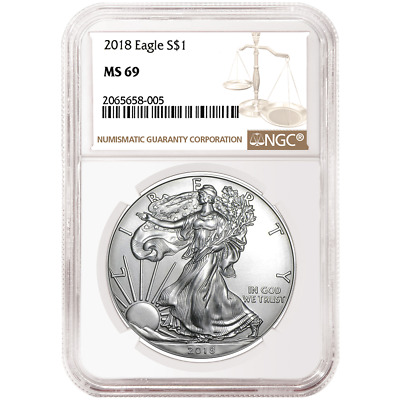2018 $1 American Silver Eagle NGC MS69 Brown Label