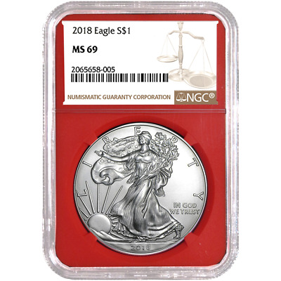 2018 $1 American Silver Eagle NGC MS69 Brown Label Red Core