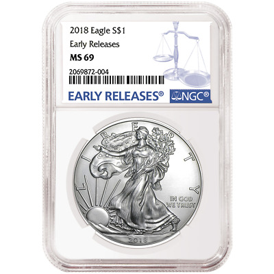 2018 $1 American Silver Eagle NGC MS69 Blue ER Label