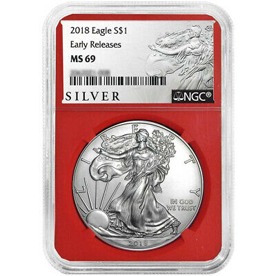 2018 $1 American Silver Eagle NGC MS69 ALS ER Label Red Core