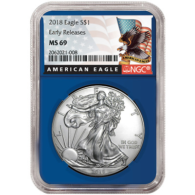 2018 $1 American Silver Eagle NGC MS69 Black ER Label Blue Core