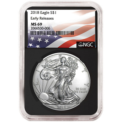 2018 $1 American Silver Eagle NGC MS69 Flag ER Label Retro Core