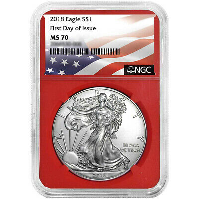2018 $1 American Silver Eagle NGC MS70 FDI Flag Label Red Core