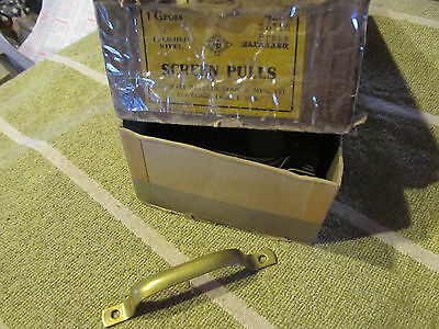 """1 Screen Door Handle Drawer Pull Sash lift 3-3/4"""" Solid Brass Tarnished NOS USA"""