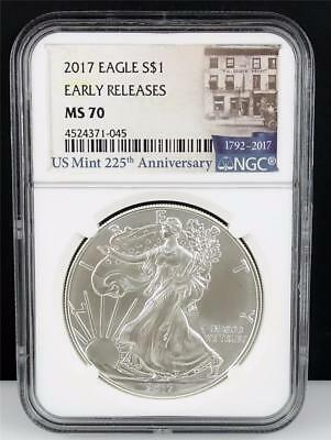 2017 $1 NGC MS70 Silver Eagle Early Releases US Mint 225th Anniversary *D1