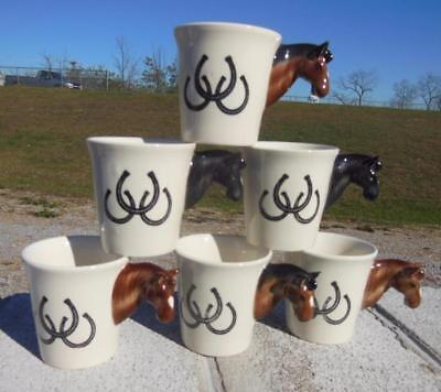 Set 3D Horse Head Horseshoe Equine Figural Coffee Mugs Cups Thailand 6 Pcs