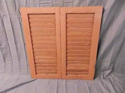 Pair Vtg Small House Window Wood Louvered Shutter Shabby Old Chic 30x16 646-17P