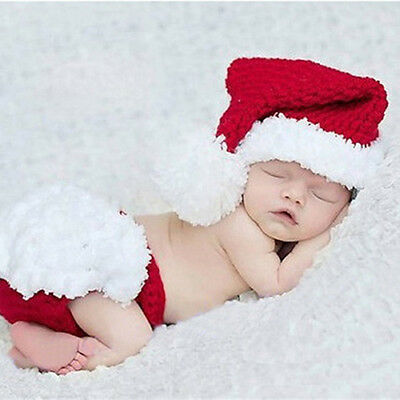 IT- Newborn Baby Xmas Santa Claus Knit Outfit Pants Hat Photography Prop Healthy