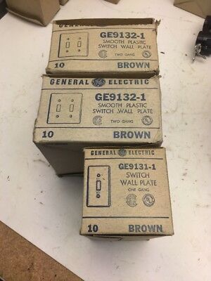 LOT Rare Vintage GE Wall Plate Cover One Gang Light Switch Toggle Brown Retro