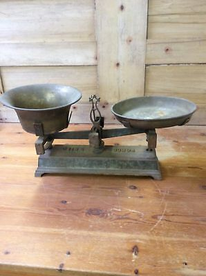 """Salvaged 1930s Cast Iron Balance Scales With Brass Weight Tray & Bowl 24 3/8"""""""