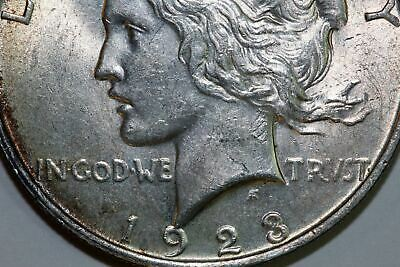 One Cool Toned 1923-P US Peace Silver Dollar About Uncirculated++ (PDX999)