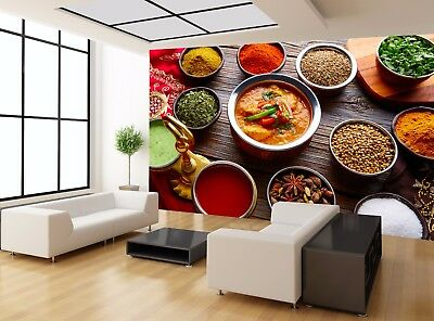 Food Indian Recipe Spices Food Wall Mural Photo Wallpaper GIANT WALL DECOR