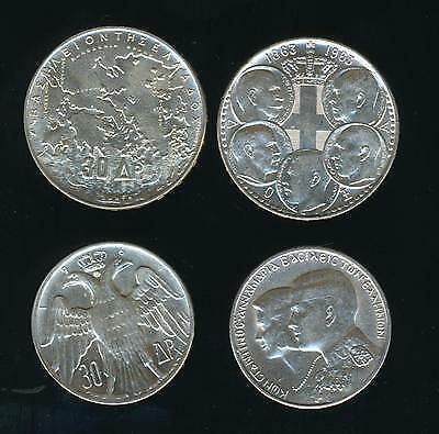 Greece. 30 & 30 Drachmai 1963 & 1964 XF-AU Greek Kings 1863-1973, 2 Silver Coins