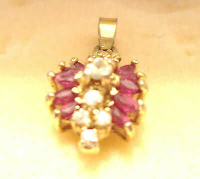 Vtg 80s Gold Plated Marquis Cut Ruby & Clear CZ's 19 stones  EC 0.95 g dwt