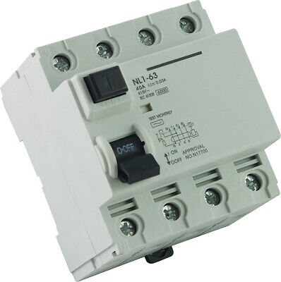 4 Pole 40A RCD Safety Switch Electrical Switchboard NEW