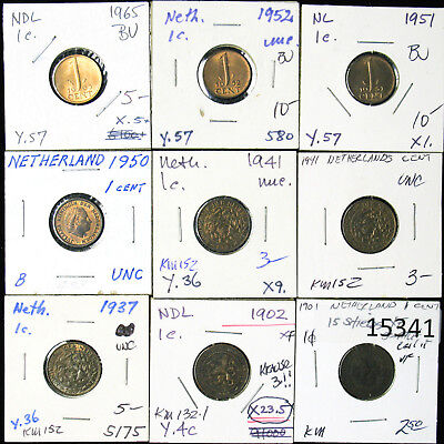 Lot of 9 Netherlands One Cent 1901-1965 XF-BU