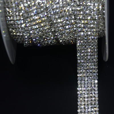 1m Rhinestone Chain Sew On Crystal Diamante Trim Sparkle Cake Ribbon DIY Decor
