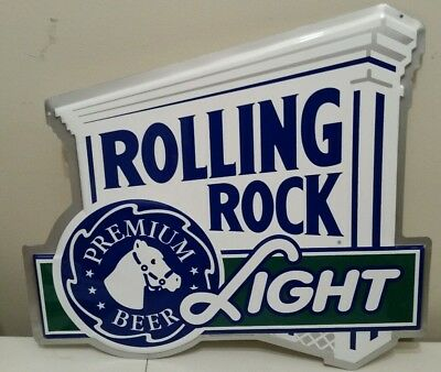 Rolling Rock Light Die Cut Embossed Metal Beer Sign