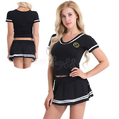 Sexy Ladies Cheerleader Uniform Lingerie School Girl Outfit Fancy Dress  Costume 865ff91ae