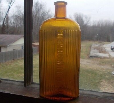 "Honey Amber Poisonous Not To Be Taken Oval Ribbed Poison Bottle 7 3/4""tall Rare"
