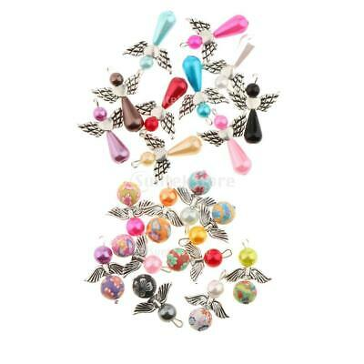 10pcs Guardian Angel Wings Charms Pearl/Clay Beads Pendants DIY Necklace 21x30mm
