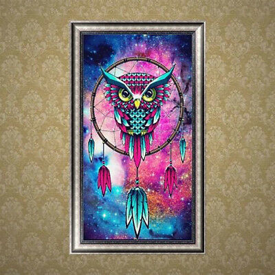 IT- DIY 5D Diamond Embroidery Owl Rhinestone Wall Painting Cross Stitch Craft Ex