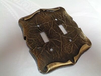 Vintage Amerock Carriage House Antique Brass Double Switchplate Cover