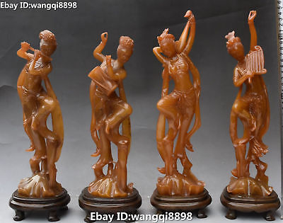 """14"""" Rare Chinese Shoushan Stone Carving Ancient 4 Great Belle Beauty Statue Set"""