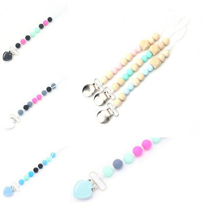 Baby Silicone Beaded Pacifier Holder Clip Nipple Teether Dummy Strap Chain 1pc