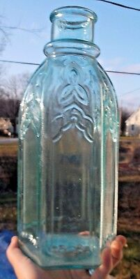 HUGE AQUA 6 SIDED CATHEDRAL PICKLE BOTTLE APPLIED LIP 1870s NICE SHINY CLEAN