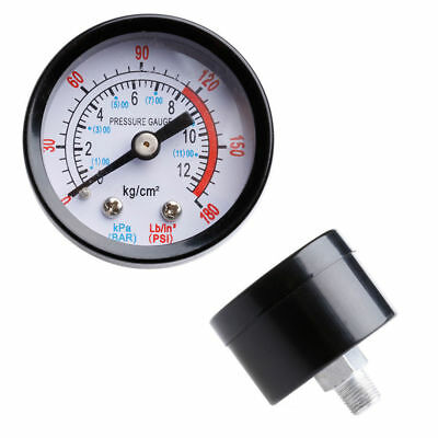 0-180PSI Air Compressor Pneumatic Hydraulic Fluid Pressure Gauge 0-12Bar