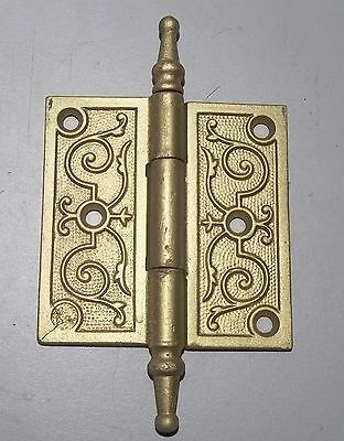 Ornate door hinges,  brass finish, 3 1/2  X  3 1/2 inch________4543/8