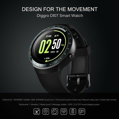 Diggro DI07 Android 5.1 Smart Watch MTK6580 1.1GHz Support 3G Wifi Nano SIM GPS