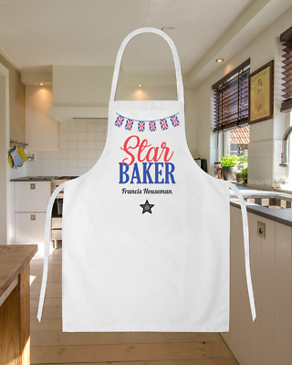 Personalised Star Baker Bunting GBBO Baking Cooking Apron Ideal Birthday Gift