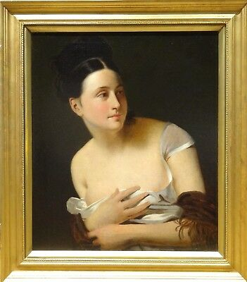 Fine Large 19th Century French School Nude Lady Portrait Antique Oil Painting